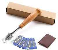 Pane Lame Set Premium Hand Crafted Pane Lame gratuita 5 Lame e copertura protettiva in pelle - Miglior pasta Scoring utensili
