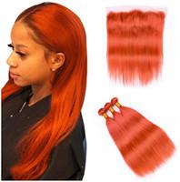 Virgin Indian Menschenhaar-Webart Orange Colored 3Bundles mit Full-Stirn 4Pcs Lot Gerade reinen orange 13x4 Spitze Frontal Verschluss mit Weave