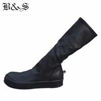 Siyah Sokak 2018 Kadınlar Sokak Punk Rock Demir kanca Gerçek Deri + Stretch Kumaş Yüksek 38cm Çorap Çizme Kalite Çizme