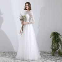 아플리케와 레이스 Tulle 비치 웨딩 드레스 슬리브와 흰색 바닥 길이 웨딩 가운 vestito da sposa