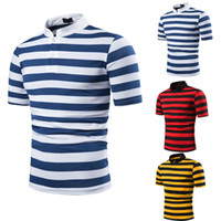 Nouveau Hommes D'été Rayé T-Shirts 2019 À Manches Courtes Col T-shirt Homme Homme Casual Fitness T-shirt Slim Tee Top Streetwear