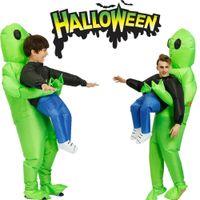 Хэллоуин Надувной Взрослый Костюм монстр Зеленый чужеродных для переноски Человека Cosplay взрослых Дети Смешной Blow Up костюм партии Fancy Dress Unisex
