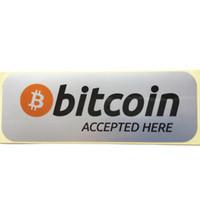 60pcs 14.5x5.5cm bitcoin aceptado aquí Etiqueta autoadhesiva de plata durable con etiqueta PET, Artículo No.FS02