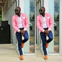 Yeni Moda Bir Düğmeler Pembe Erkek Düğün Takım Elbise Donanma Mavi Pantolon Adam Blazer Damat Smokin Slim Fit Erkek Business Suit (Ceket + Pantolon)