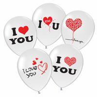 Dayanıklı Doğal Lateks Hava Balon Yuvarlak 12 Inç Airballoon Toksik Olmayan İngilizce Mektup I Love You Balonlar Sevgililer Günü Için 14ay BB