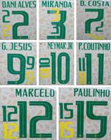 2018 Brezilya yeşil baskı futbol namesets NEYMAR JR MARCELO oyuncunun damgalama yazı yazı dünya kupası Brasil futbol etkil ...