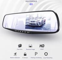 Full HD 1080P cámara del coche DVR Auto 4,3 pulgadas Espejo retrovisor grabador de vídeo digital con doble objetivo Registratory videocámara