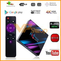 H96 MAX Android 9.0 Mini Caixa de TV 4G 2G Ram 64 GB 32 GB 16 GB Rom RK3318 Quad Core 1080 P TV Inteligente 4 LED TV Display Set Top Box