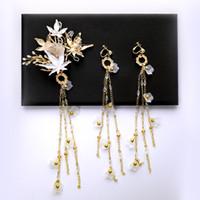 Mão feita ouro vintage nupcial conjuntos de flores de folha de flores com longos brincos de borla mulheres Country Beach Accessories Barato
