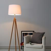 Lâmpadas de madeira modernas do assoalho do tript do nórdico de madeira Lâmpada ereta do tripé do tripé do tripé para a sala de visitas do quarto da iluminação home interna