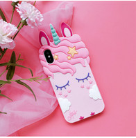 3D Cartoon Kawaii Einhorn-Hülle für iPhone X XS 8 7 6 6S PLUS I Phone X XS 8 Plus Handy Luxus Coque Cases Cute Pink Shell Cover