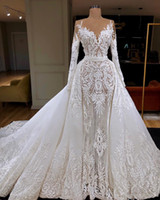 Manicotto della sirena abiti da sposa lungo 2020 sexy di lusso con il treno staccabile Dubai arabo Appliqued merletto nuziale Gowns