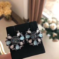 2019 Hot sale Top brass material charm stud earring with whi...