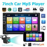7 인치 2 DIN 블루투스 자동차 MP4 MP5 자동차 라디오 비디오 플레이어 미러 링크 스티어링 휠 제어 후면보기 카메라 옵션
