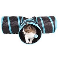 접이식 3 개 홀 애완 동물 고양이 터널 장난감 실내 야외 애완 동물 고양이 교육 장난감 고양이 토끼 재미 고양이 터널 하우스 장난감