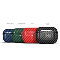 Caso de fibra de carbono para Airpods Pro Protector Case Anti-perdido Earbuds Case com gancho para Airpods 3 fones de ouvido TPU Capa completa