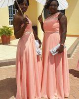 2020 뉴 남아프리카 흑인 소녀 라인 신부 들러리 드레스 하나 어깨 쉬폰 하녀 명예 드레스 웨딩 게스트 드레스 플러스 사이즈