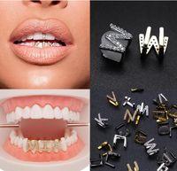 الذهب الأبيض الذهب oged خارج a-z مخصص إلكتروني grillz كامل الماس الأسنان diy فانغ الشوايات تأثيري سقف الأسنان الهيب هوب الأسنان الأسنان الفم الحمالات