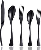 20 шт черные столовые приборы столовое серебро наборы столовых приборов, уникальный современный вид, домашняя кухня посуда из нержавеющей стали / посуда / наборы посуды для 4