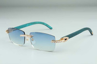 Neueste 3524012-11 große Diamant Sonnenbrille, grüne Holzgläser, quadratische Stück Brillen Mode Herren und Frauen Grenzenlose Sonnenbrille