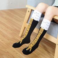 3D Pollo divertido de invierno de las mujeres del otoño calcetines de alta del muslo calcetín 3D Ainimals Pies lindos de la historieta del dedo del pie divertido delgadas señoras creativas Calcetines