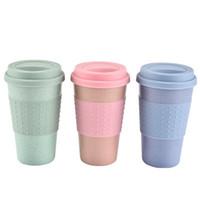 Copa del café del gel de silicona de fibra de trigo de la paja taza de plástico vaso con tapa de coches de alta temperatura de la resistencia Ligera EEA685-11 portátil