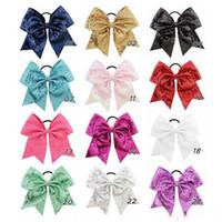 8 pouces solide ruban Cheer Bow pour les filles enfants Boutique Grand Cheerleading cheveux Bow Enfants Accessoires cheveux à paillettes