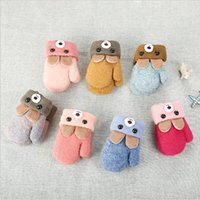 0-3년 된 귀여운 귀 곰 만화 어린이 장갑 겨울 니트 양모 더블 레이어 플러스 벨벳 두꺼운 따뜻한