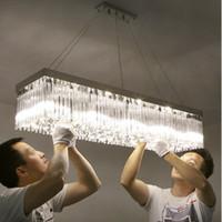 Modern basit kristal lamba asılı fikstürü LLFA asılı sıcak romantik uzun şerit dikdörtgen restoran ışıkları yemek odası yemek LED