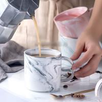 Cerâmica Mármore mármore Caneca clássico caneca de porcelana pintada à mão cerâmica Sr. e Sra chá com leite Cups