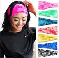 Fitness Run Bandeaux Headwrap Tie-dye Bandeau Sport Yoga Bandes cheveux Bandana Large Imprimé Turban stretch Coiffe Accessoires cheveux B6509