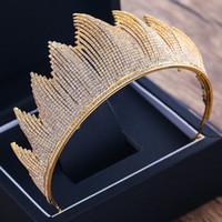 Mariée Grande Couronne Diadème Pour Le Mariage De Luxe À La Mode Complète Strass Cristal Reine Casque Couronne De Mariage De Cheveux Accessoires