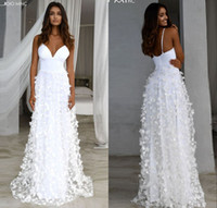 White Spaghetti A-line Party Dresses Cheap Full Length Open Back Women Beach Holiday Wear Lace Appliqued Vintage Prom Evening Dresses 2342