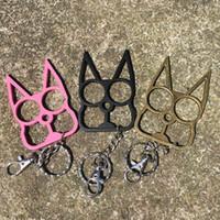 شخصية سلسلة المفاتيح الكلاسيكية شكل القط ، سلسلة مفتاح أداة الدفاع عن النفس ، رئيس القط هدية إصبع النمر المعدنية ، 3 اللون