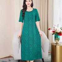 Mother loaded sleeves dress female long section printing mid...