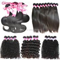 Glamorous 10Pcs / lot Menschenhaar spinnt Großhandel 8-34Inch brasilianisches Haar-Bundles Die meisten Pupular Gerade Körper-Wellen-lockige Haarverlängerungen