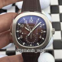 NEW 5164R-001 Двойное время с двойным временем Большой коричневый циферблат автоматические мужские часы 316L стальной корпус резиновый ремешок Gents Sport Watches PPHW Hello_Watch