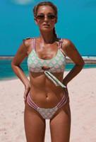 popüler spor Püskül kadın seksi tek parça yüksek arkası açık göbek örtüsü mayo bölünmüş mayo kız Bikiniler seti plaj yakuda belli