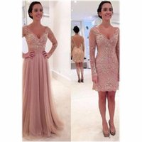 New Dusty Pink Lace Hijab Evening Dresses with Detachable Skirt V Neck Long Sleeve Cheap Latest Gown Design Formal Prom Dressess