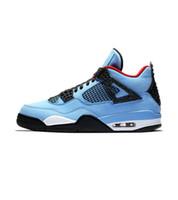 Cactus Jack Travis Scotts x 4s Houston engrasador de cemento blanco zapatos Raptors KAWS IV de baloncesto del Mens puro dinero de las regalías calzado deportivo zapatillas de deporte