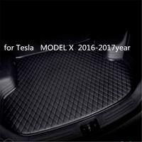 Tesla MODELİ X 2016-2017year araç kaymaz mat için özel bir anti-patinaj deri araba bagajı paspas paspas uygun