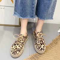 Chamsgend Frauen Wohnungen 2020 Mode Frauen Runde Zehe Flache Freizeitschuhe Stroh Hanf Seil Lace Up Leopard Schuhe