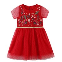 Baby Girls Dresses Summer Short Sleeve A- line Embroidery Wed...
