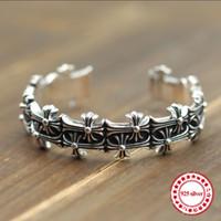 S925 Sterling Silber Herren Armband Persönlichkeit Vintage Dominierende Mode Punk Stil Hip-Hop Schädel Kreuz Form Geschenk Armreifen