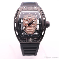 BOYUHENG 투명 석영 배터리 43MM 다이아몬드 중공 해골 해골 골드 남성 시계 고무 밴드 핀 버클 시계 손목 시계 다이얼