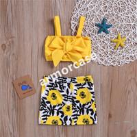 Ins crianças vestidos de verão ternos meninas princesa bowknot strapless tubo tops + botões florais mini saia na moda de duas peças conjuntos cz317
