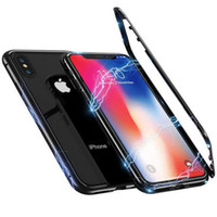 360 manyetik mıknatıs adsorpsiyon metal hard case için iphone x 8 plus 7 6 6 s + cam arka kapak için iphone xs max xr