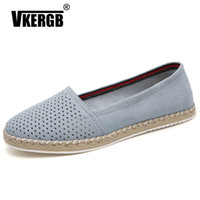 VKERGB Female Flats Loafers Summer women Cutout Suede Leathe...