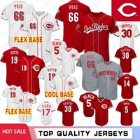 66 Yasiel Puig 5 Johnny Bench Cincinnati Camisetas de béisbol Rojos 19 Joey Votto 30 Ken #Griffey Jr 11 Barry Larkin 14 Pete Rose 17 Chris Sabo