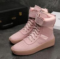 High Fashion Nowa Najlepsza Jakość Strach przed Bogiem Top Wojskowe Sneakers Hight Army Botki Mężczyźni i Kobiety Moda Buty Martin Buty Rozmiar 38-46